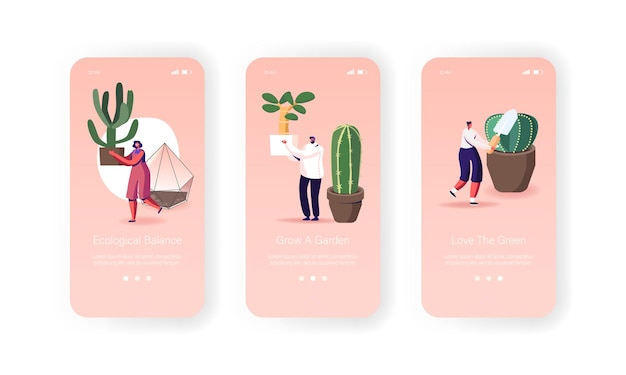 People caring for decorative plants at home mobile app page screen template.