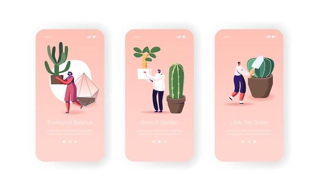 홈 모바일 앱 페이지 화면 템플릿에서 장식용 식물을 돌보는 사람들.