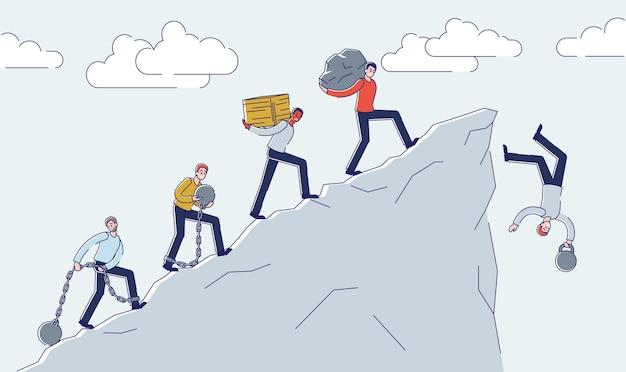 사람들은 산 절벽 가장자리에 짐을지고 넘어진다 금융 위기 문제