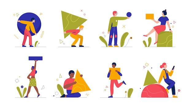 人々は幾何学的な抽象的な形を運ぶ正方形の円の三角形を保持している男性女性を設定します