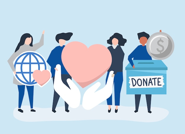 Люди, несущие благотворительные и благотворительные иконки
