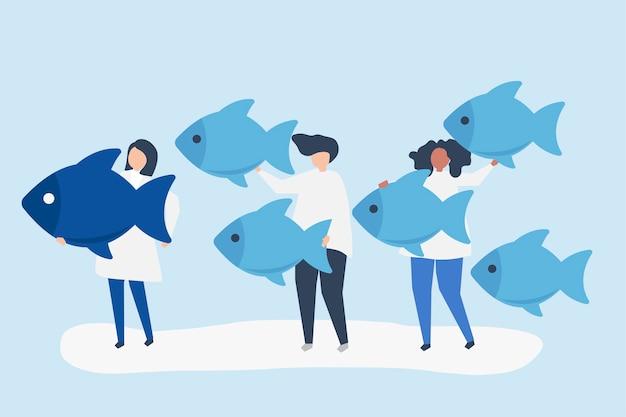 리더십 개념에 물고기 아이콘을 운반하는 사람들