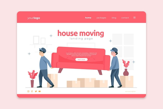 People carrying furniture house moving services landing page