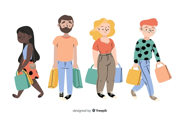 People carrying shopping bags collection