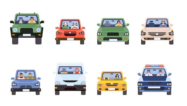 People in cars front view. man and woman driving, delivery service, police in car and old couple. drivers in flat minimal style vector set. illustration car drive, travel transportation automobile