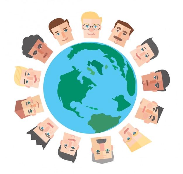 People cartoon around the world Premium Vector