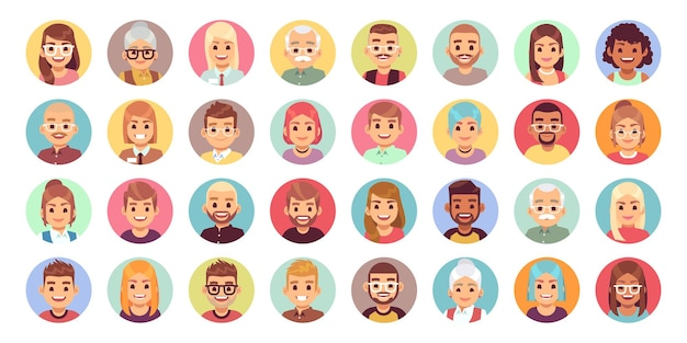 People cartoon avatars. diversity of office workers flat character and avatar portraits, vector face icon set