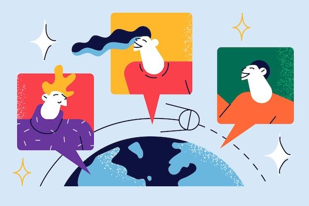 소셜 네트워크를 통해 의사 소통하는 사람들 만화 캐릭터