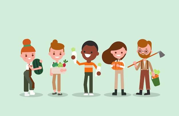 원예 도구와 야채와 함께 사람들이 만화. 젊은 농업 노동자 그림. 캐릭터.