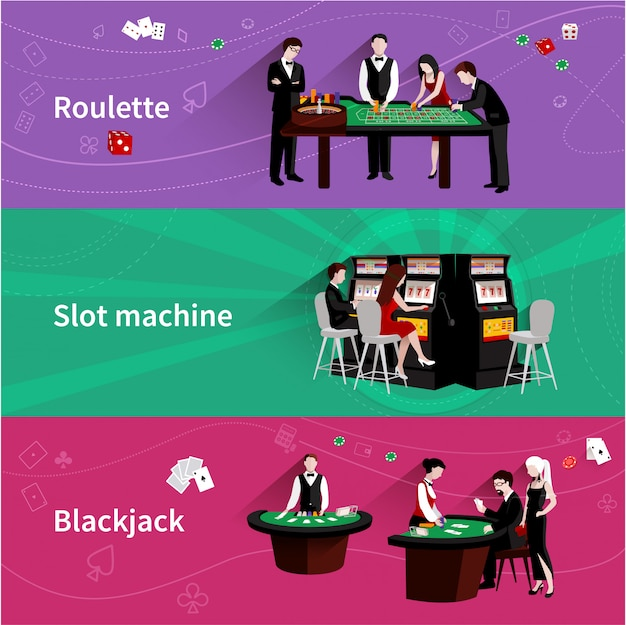 People in casino horizontal banner set with roulette slot machine blackjack elements