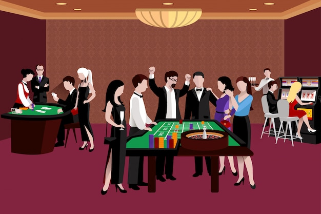 People in casino illustration