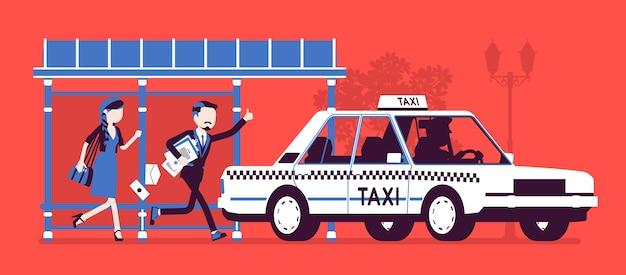 フラットなデザインでタクシーをキャッチする人々