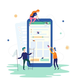 People catching bugs on the mobile app. it software application testing, quality assurance