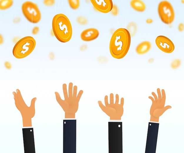 People catching falling gold dollar coins on white background.