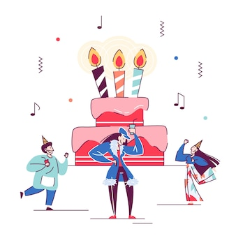 People celebrate birthday around big cake. calendar event, celebration.    illustration