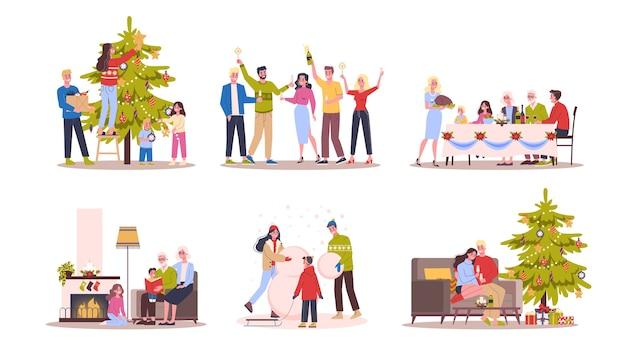 人々はクリスマスと新年のセットを祝います。冬の休日とクリスマスツリーの家族。スタイルのイラスト