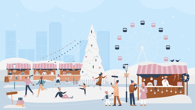 People celebrate christmas winter festive season in xmas market fair  illustration.