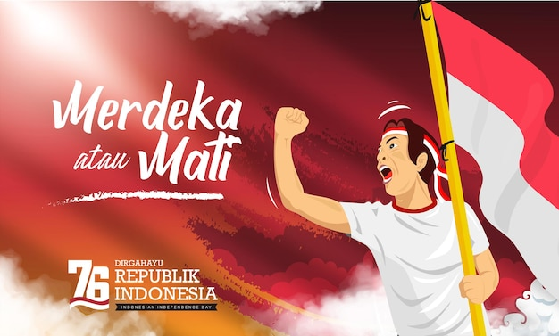 People celebrate indonesia 76th independence day or dirgahayu kemerdekaan indonesia ke 76