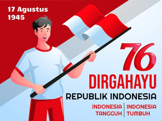 人々はインドネシア独立記念日を祝うdirgahayuharikemerdekaanインドネシア