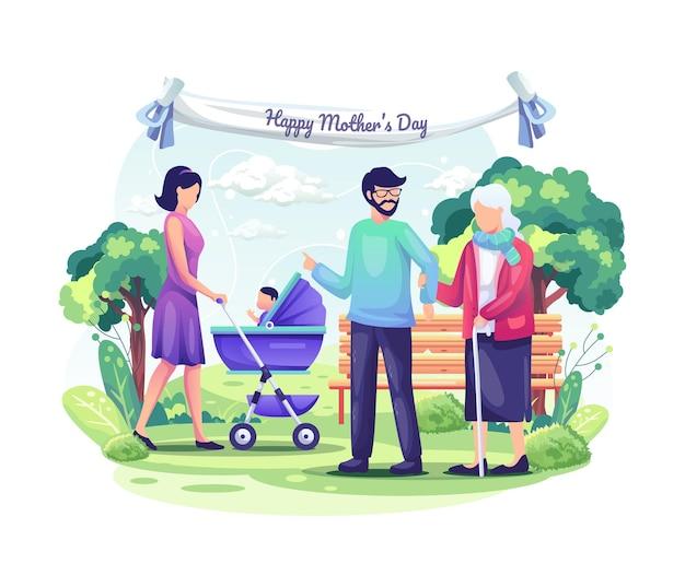 사람들은 자녀 및 가족과 함께 어머니의 날을 축하합니다.