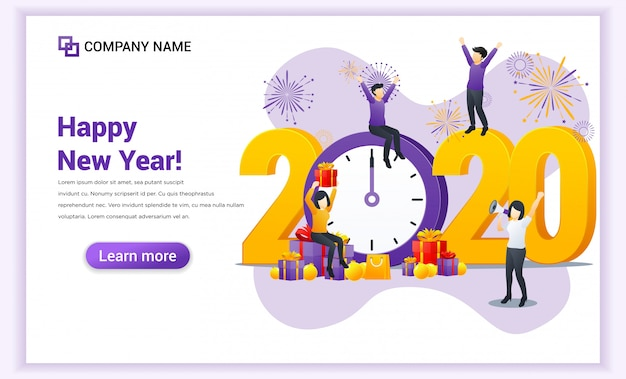 People celebrate the new year near big clock and big symbol 2020 numbers landing page