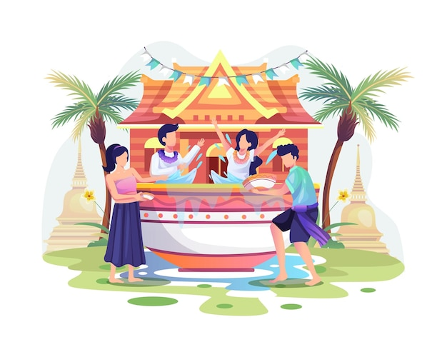 사람들은 송크란 축제 태국 전통 설날을 축하합니다