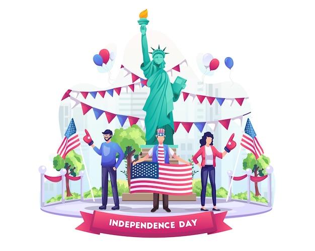 人々は旗と風船のイラストで7月4日の米国独立記念日を祝います Premiumベクター