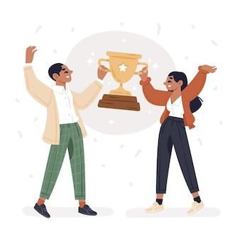 목표 달성을 축하하는 사람들
