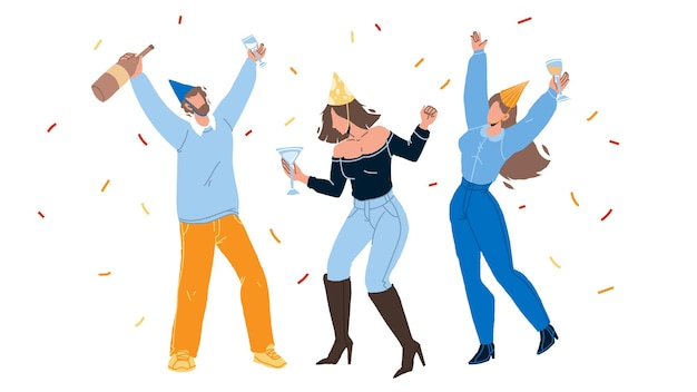 People celebrating birthday or christmas vector. young man and women celebrating anniversary or xmas, drinking alcoholic beverage and dancing together. characters party flat cartoon illustration