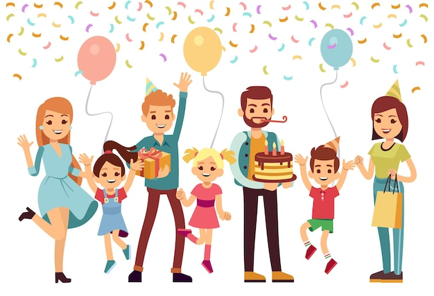People celebrating birthday. happy parents jumping kids with cake balloons and confetti. festive time, family together on holiday. isolated cartoon joyful man woman children vector illustration