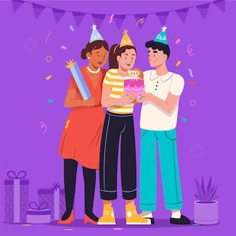 誕生日のイラストを祝う人々