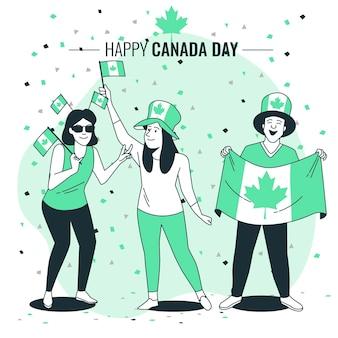 캐나다의 날 개념 그림을 축하하는 사람들