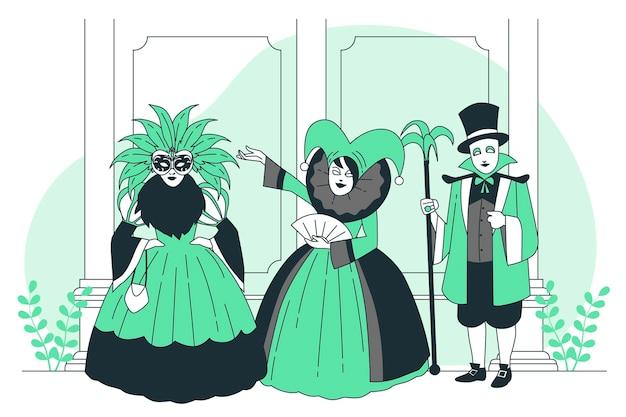 ヴェネツィアの概念図のカーニバルを祝う人々