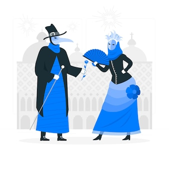 Persone che celebrano il carnevale di venezia concetto illustrazione