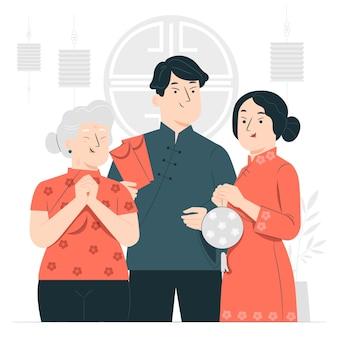 중국 새 해 개념 그림을 축 하하는 사람들