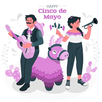 People celebrating cinco de mayoconcept illustration