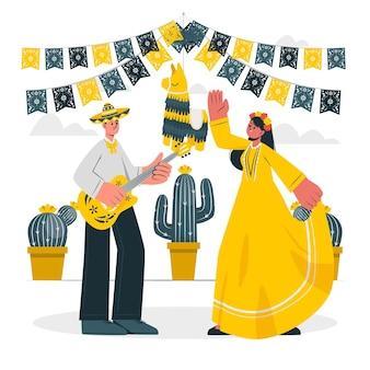 Люди празднуют иллюстрацию концепции синко де майо