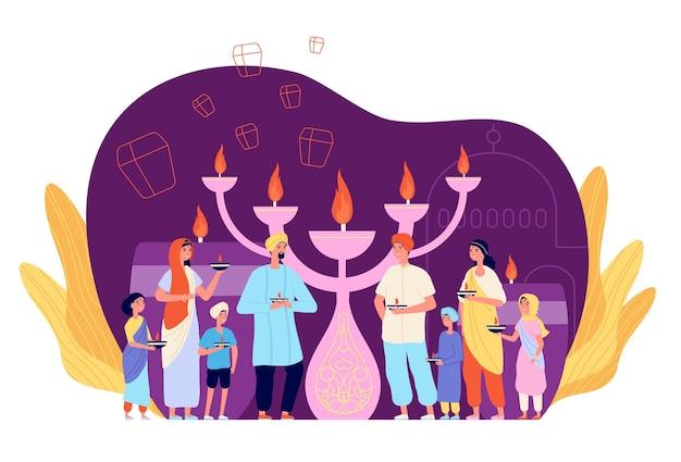 ディワリ祭を祝う人々。キャンドルでお祝いの人、民族文化の光の祭典。インドの家族は火、お祭りのベクトル文字を保持します。祭りのお祝いディワリ祭、ヒンドゥー教の宗教イラスト