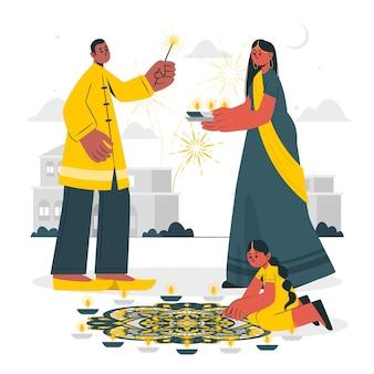 People celebrating diwali concept illustration