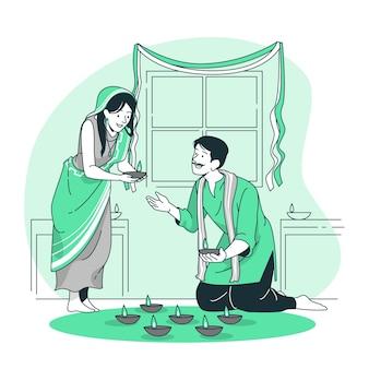 La gente celebra l'illustrazione del concetto di diwali