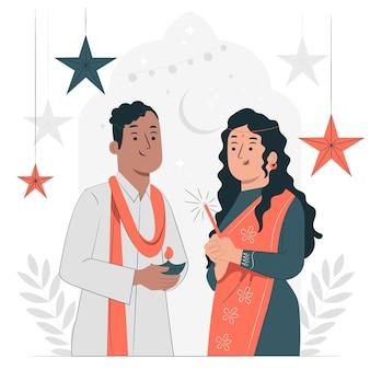 Persone che celebrano il concetto di diwali illustrazione