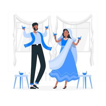 La gente celebra l'illustrazione di concetto di diwali