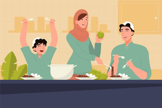 Люди празднуют ид аль-адха иллюстрации