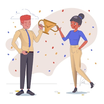 Persone che celebrano il raggiungimento di un obiettivo disegnato a mano piatta