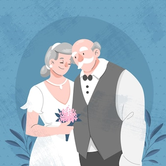 황금 결혼 기념일을 축하하는 사람들