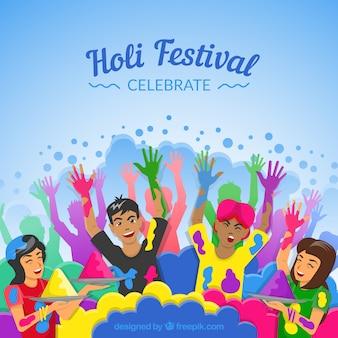 People celebrating holi festival background in flat style