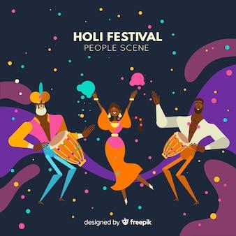 People celebrating holi festival background