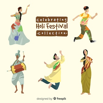 Persone che celebrano la raccolta del festival di holi
