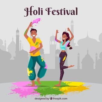 La gente celebra il festival di holi in stile piatto
