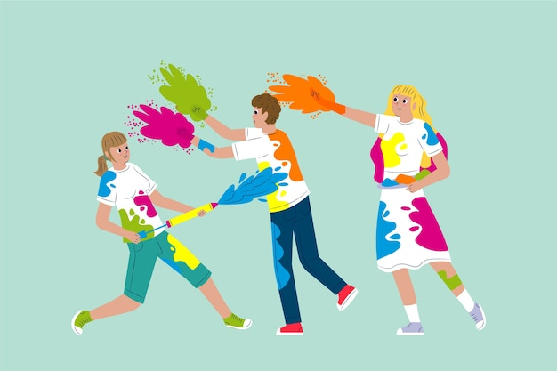 People celebrating holi festival illustrated concept